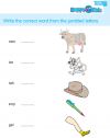 Kindergarten English Write Word From Jumbled Letters