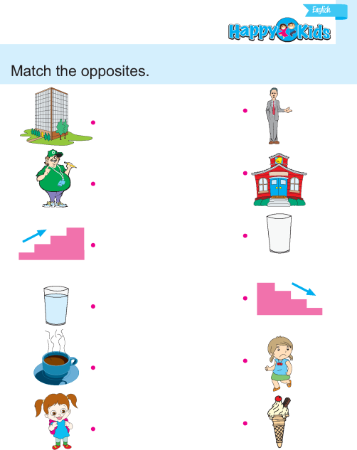 Kindergarten English Match The Opposites – Kindergarten Opposites Worksheet