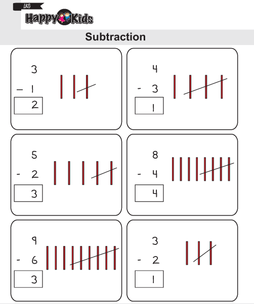 Kindergarten Maths Subtraction