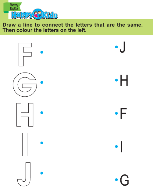Preschool English Exercise and Activities F to J