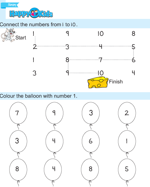 Preschool Number Exercise 1 to 10