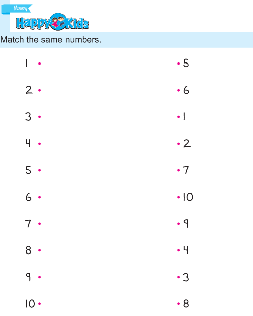 Preschool Number Match Exercise 1 to 10
