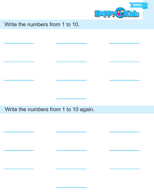Preschool Number Write 1 to 10