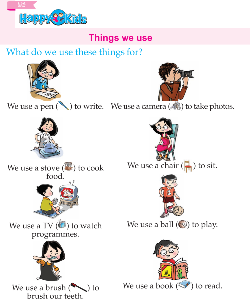 Kindergarten English Things We Use : Preschool and ...